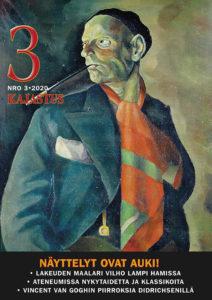 Vilho Lampi on maalannut omakuvansa rohkein vedoin, hänellä on päässä baskeri, suussa tupakka pitkässä holkissa, yllä vihertävä takki, kaulassa räikeä punavihreä huivi.